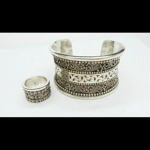 925 LOIS HILL Sterling silver CUFF BRACELET & Ring
